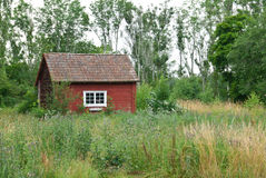 Traditionelles schwedisches rotes Haus in der Sommerlandschaft Stockbild