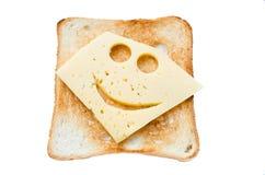 Traditionelles selbst gemachtes Sandwich mit einem lächelnden Käse lizenzfreies stockfoto
