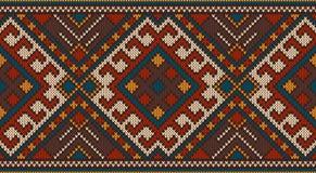 Traditionelles Stammes- aztekisches nahtloses Muster auf der Wolle strickte Beschaffenheit Stockfotografie