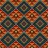 Traditionelles Stammes- aztekisches nahtloses Muster auf der Wolle strickte Beschaffenheit Stockbilder