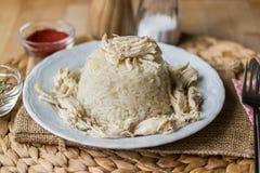 Traditionelles türkisches Huhn auf einem Reis (tavuklu pilav) Stockbild