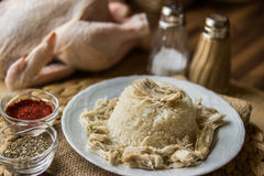 Traditionelles türkisches Huhn auf einem Reis (tavuklu pilav) Lizenzfreies Stockbild