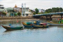 Traditionelles vietnamesisches Boot im Korb formte, Phan Thiet, Vietnam Stockfotografie