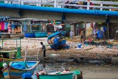 Traditionelles vietnamesisches Boot im Korb formte, Phan Thiet, Vietnam Lizenzfreie Stockfotografie