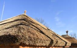 Traditionellt afrikanskt halmt?ckt tak mot en bl? himmel arkivbild
