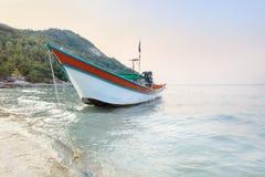Traditionellt asiatiskt färgrikt fartyg för lång svans Fotografering för Bildbyråer