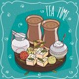 Traditionellt asiatiskt sötsaker och masalachai te stock illustrationer