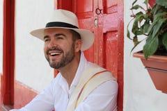 Traditionellt colombianskt manligt le slut upp royaltyfria foton