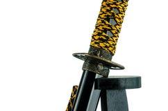 Traditionellt dekorativt japanskt svärd royaltyfri fotografi