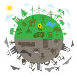 Traditionellt energibegrepp för förnybara energikällor kontra i den plana designen, app, baner Arkivbild