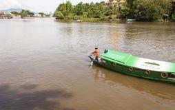 Traditionellt flodfartyg Sarawak, Malaysia Arkivfoton