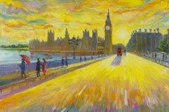 Traditionellt gammalt London för röd buss på England målning för olje- färg Arkivfoton