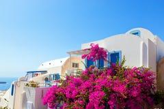 Traditionellt grekiskt hus med blåa fönster och blommor utanför Arkivbild