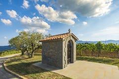 Traditionellt historiskt litet kapell nära en vingård i Kroatien på en sommardag royaltyfri fotografi