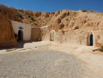 Traditionellt hus av Berbers i Matmataen, Tunisien royaltyfri fotografi