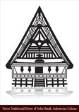Traditionellt hus för vektor av Suku Batak, indonesisk kultur vektor illustrationer