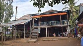 Traditionellt hus i Chambyn - Chau Doc Arkivbild