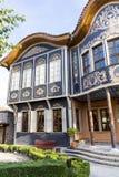 Traditionellt hus i den gamla staden av Plovdiv, Bulgarien Arkivfoto