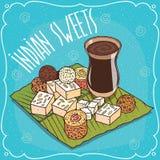 Traditionellt indiskt sötsaker och masalachai te vektor illustrationer