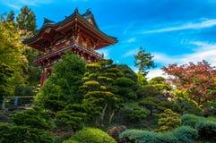 Traditionellt japanskt hus Minka i japanträdgården San Francisco, Kalifornien USA Arkivfoton