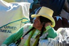 Traditionellt klädd latin - amerikanska kvinnor i byområdet arkivbild
