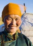 Traditionellt klänningbegrepp för mongolisk kvinna Royaltyfri Bild
