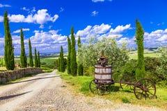 Traditionellt landskap av Tuscany, Italien Arkivbilder