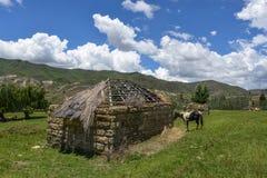 Traditionellt lantbrukarhem i Lesotho Arkivbild