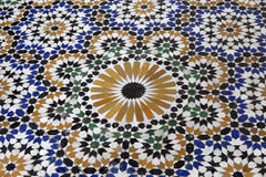 Traditionellt mosaikgolv i Marrakesh Royaltyfri Fotografi