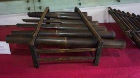 Traditionellt musikinstrument som göras från bambufotoet som tas i Jakarta Indonesien Arkivfoton