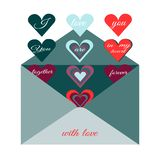 Traditionellt post- kuvert med romantisk lust Bild av hjärta och romantisk önska vektor illustrationer