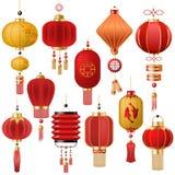 Traditionellt rött lykta-ljus för kinesisk lyktavektor och orientalisk garnering av porslinkultur för asiatisk beröm vektor illustrationer