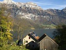 Traditionellt schweiziskt sjö- och huslandskap Arkivbilder