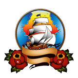 Traditionellt skepp med rosor Arkivfoton
