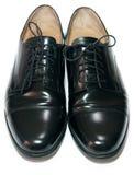 traditionellt svart klassiskt läder male polerat s Arkivbilder