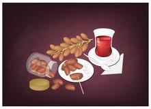 Traditionellt svart varmt te, populär drink i Azerbajdzjan stock illustrationer