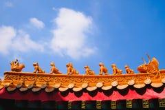 Traditionellt tak och tempel för kinesisk stil för arkitektur Fotografering för Bildbyråer