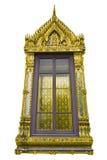 Traditionellt thailändskt utformar det kyrkliga fönstret Arkivbild