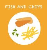 traditionellt trä för brittisk tabell för chipfiskmellanmål Arkivbilder
