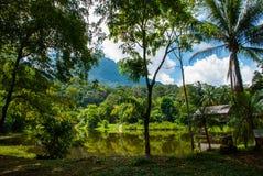 Traditionellt trähus nära sjön och berget i bakgrunden Kuching till den Sarawak kulturbyn Borneo Malaysia Royaltyfri Fotografi