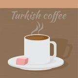 Traditionellt turkiskt kaffe med turkisk fröjd stock illustrationer