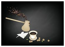 Traditionellt turkiskt kaffe, populär dryck i Turkiet vektor illustrationer