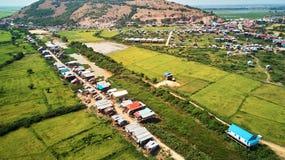 traditionnal村庄鸟瞰图在暹粒,柬埔寨 库存图片