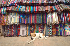 Traditionnal fabric in a tamel market  Nepal, Asia. Royalty Free Stock Image