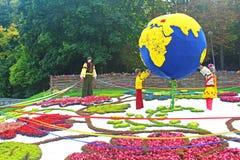 59 traditionnels annuels fleurissent le pays de l'exposition une, Kyiv, Ukraine Images libres de droits