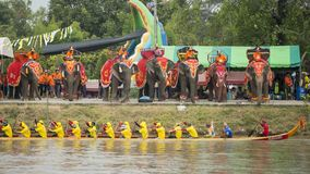 THAILAND BURIRAM SATUEK LONGBOAT RACE. The tradititional Longboat Race at the Mun river of the town of Satuek north of the city Buri Ram in Isan in Northeast Stock Photography