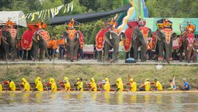 THAILAND BURIRAM SATUEK LONGBOAT RACE. The tradititional Longboat Race at the Mun river of the town of Satuek north of the city Buri Ram in Isan in Northeast Stock Image