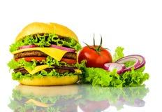 Traditonal burger and vegetables Stock Photo
