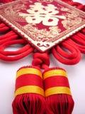 Traditonal chinese wedding suspending  tassel. Chinese  traditonal red and golden wedding suspending  tassel,studio lighting Stock Photos