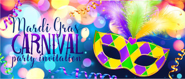 Traditonal colors carnival mask on shining bokeh lights, Mardi Gras invitation banner template. Traditonal colors carnival mask on shining bokeh lights, vector royalty free illustration